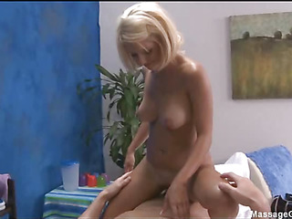 Hot and sexy blonde 18 year old gets fucked hard from behind by her massage therapist