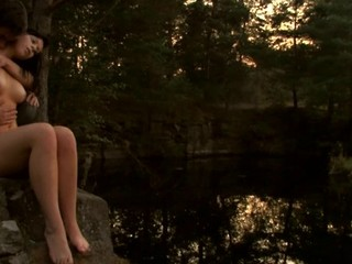Check out a ardent in force age teenager shacking up scene outdoors during sunset